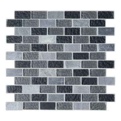 Cheyenne 1 x 2 Glass and Natural Stone Mosaic Tile in Charcoal