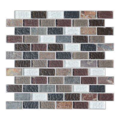 Cheyenne 1 x 2 Glass and Natural Stone Mosaic Tile in 5 Color Blend