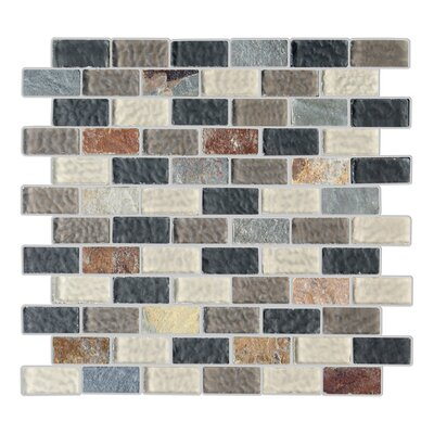 Cheyenne 1 x 2 Glass and Natural Stone Mosaic Tile in 4 Color Blend