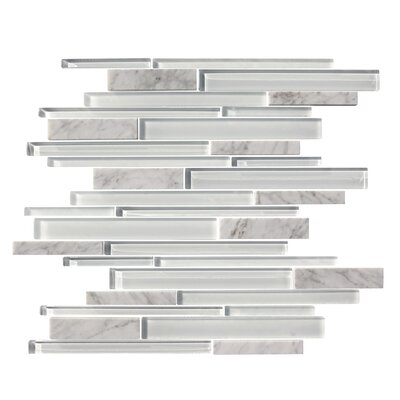 Marbella Random Sized Marble Stone and Glass Mosaic Tile in White