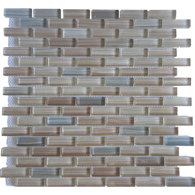 Rosewood 0.63 Slate and Glass Mosaic Tile in White and Brown
