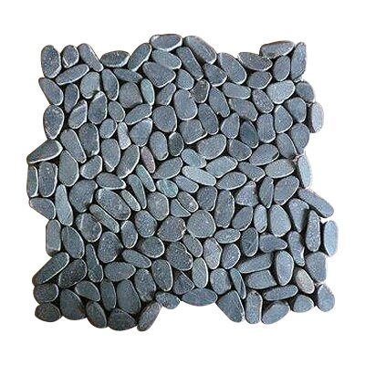 Rocha Random Sized Natural Stone Pebble Tile in Matte Black