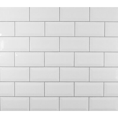Classic 3 x 6 Beveled Ceramic Subway Tile in White