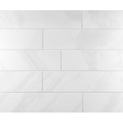 Classic 4 x 16 Ceramic Subway Tile in Bright White/Grey