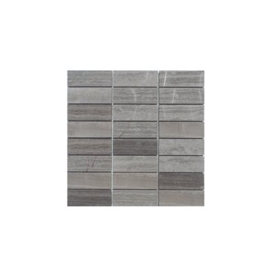 Stacked Honed Natural Stone Mosaic Tile in Wood Ash