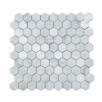 1.25 x 1.31 Natural Stone Mosaic Tile in Carrara