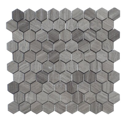 1.25 x 2 Natural Stone Mosaic Tile in Wood Ash
