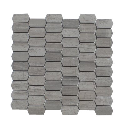 Honeycomb Honed 1 x 2 Natural Stone Mosaic Tile in Wood Ash