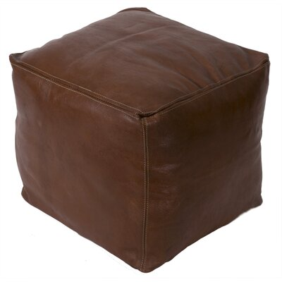 Moroccan Square Leather Ottoman Upholstery: Havane