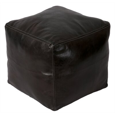 Moroccan Leather Pouf Upholstery: Cafe Noir