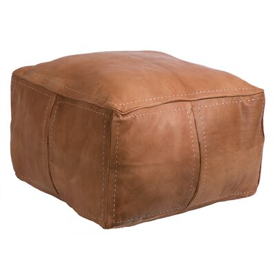 Moroccan Leather Pouf Upholstery: Tan