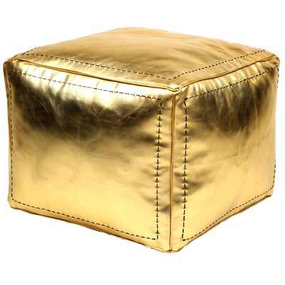 Moroccan Leather Pouf Upholstery: Gold