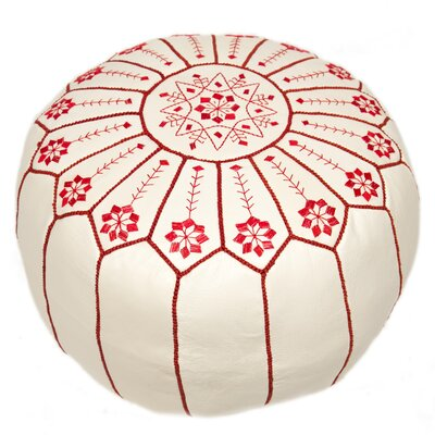 Moroccan Embroidered Leather Ottoman
