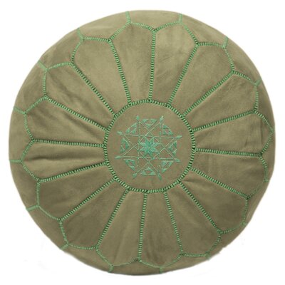 Moroccan Suede Leather Pouf Ottoman Upholstery: Apple Green