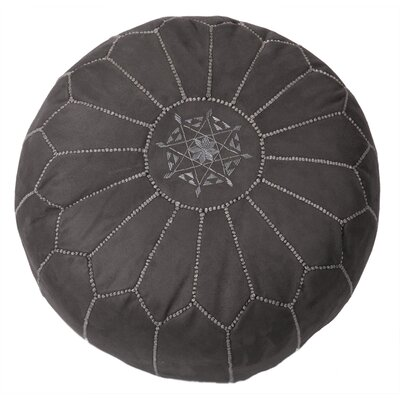 Moroccan Suede Pouf Upholstery: Gray