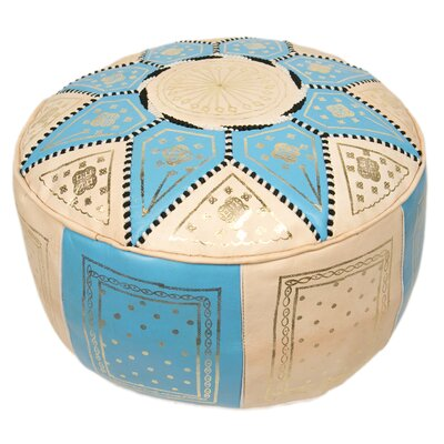 Moroccan Marrakech Leather Pouf Upholstery: Baby Blue