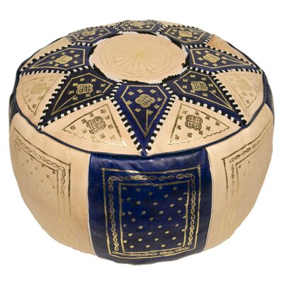 Moroccan Marrakech Leather Pouf Upholstery: Dark Blue
