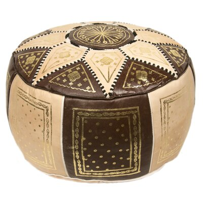 Moroccan Marrakech Pouf Leather Ottoman Upholstery: Brown