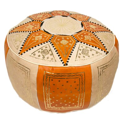 Moroccan Marrakech Leather Pouf Upholstery: Orange