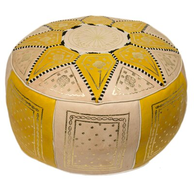Moroccan Marrakech Leather Pouf Upholstery: Yellow