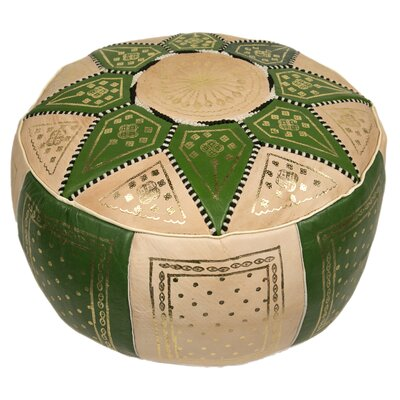 Moroccan Marrakech Leather Pouf Upholstery: Forest Green