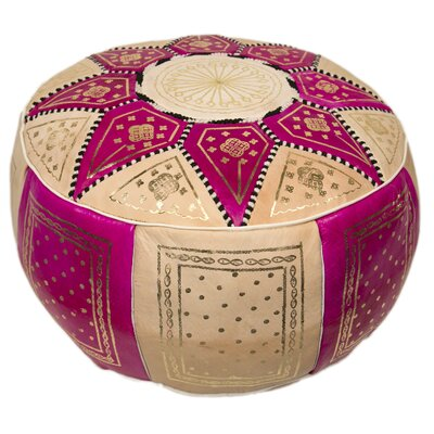 Moroccan Marrakech Leather Pouf Upholstery: Fuchsia