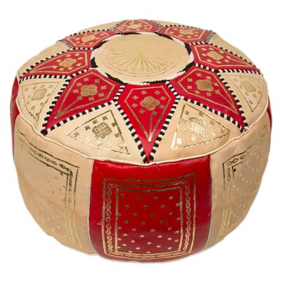 Moroccan Marrakech Pouf Leather Ottoman Upholstery: Red