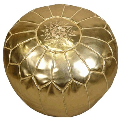 Moroccan Embroidered Pouf Ottoman Color: Gold