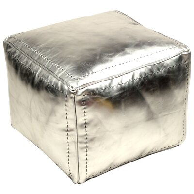 Moroccan Leather Square Pouf Ottoman Upholstery: Silver