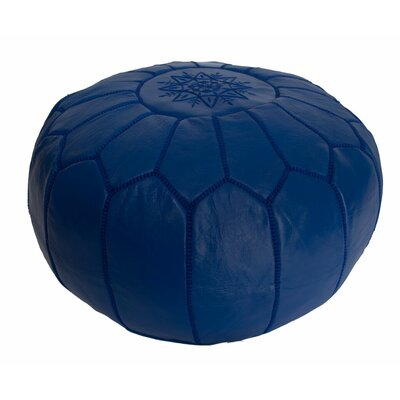 Embroidered Leather Ottoman Upholstery: Blue