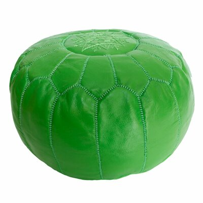 Embroidered Leather Ottoman Upholstery: Green