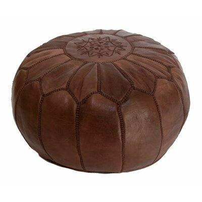 Embroidered Leather Ottoman Upholstery: Brown