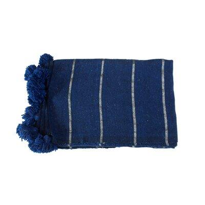 Moroccan Pom Pom Blanket Color: Silver on Blue