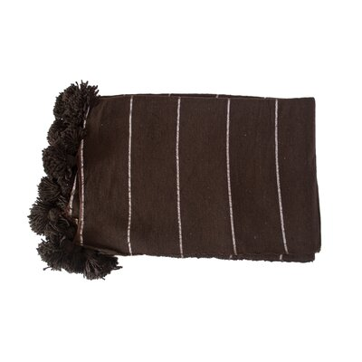 Moroccan Pom Pom Blanket Color: Silver on Brown