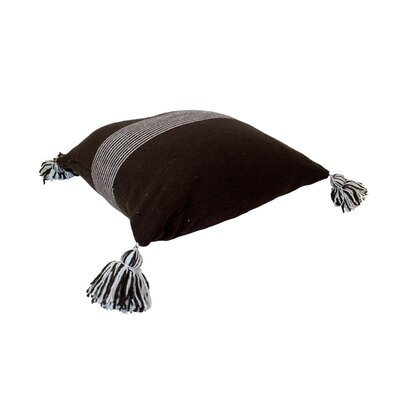 Moroccan Pom Pom Pillows Color: White Stripes on Brown