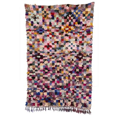 Boucherouite Azilal Hand-Woven Pink/Black Area Rug