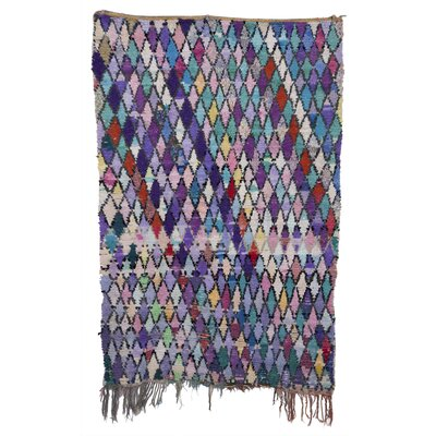 Boucherouite Azilal Hand-Woven Green/Purple Area Rug