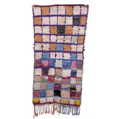 Boucherouite Azilal Hand-Woven Ivory/Orange Area Rug
