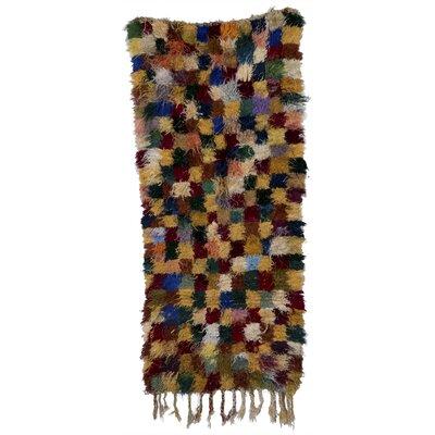 Boucherouite Azilal Hand-Woven Camel/Green Area Rug