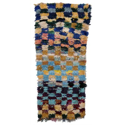 Boucherouite Azilal Hand-Woven Brown/Blue Area Rug