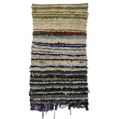 Boucherouite Azilal Hand-Woven Ivory/Black Area Rug