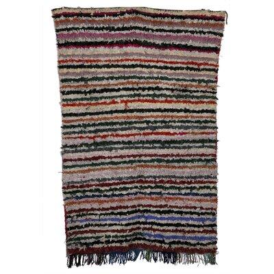 Boucherouite Azilal Hand-Woven Green/Pink Area Rug