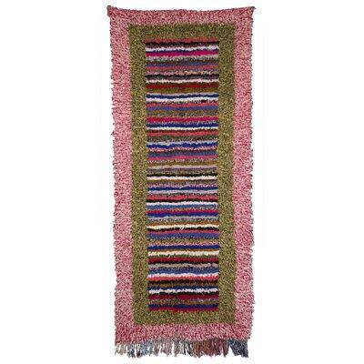 Boucherouite Azilal Hand-Woven Pink/Green Area Rug