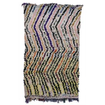Boucherouite Azilal Hand-Woven Pink/Yellow Area Rug