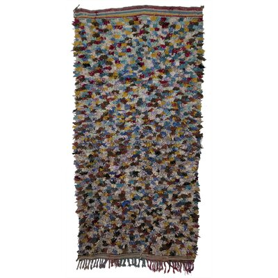 Boucherouite Azilal Hand-Woven Blue/Orange Area Rug