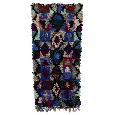 Boucherouite Azilal Hand-Woven Blue Area Rug