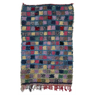 Boucherouite Azilal Hand-Woven Purple/Green Area Rug
