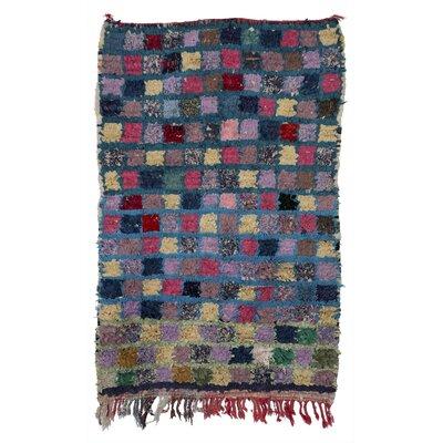Boucherouite Azilal Hand-Woven Purple/Green Area Rug