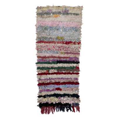 Boucherouite Azilal Hand-woven Ivory/red Area Rug