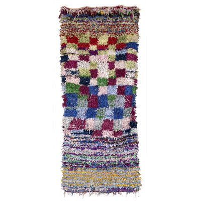 Boucherouite Azilal Hand-Woven Blue/Green Area Rug